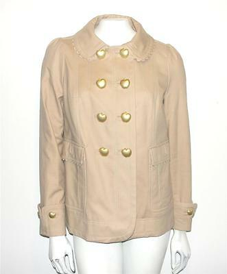 JUICY COUTURE~TAUPE~GOLD APPLE BUTTONS~CUFFED SLEEVE~TRENCH COAT~WINTER JACKET~M
