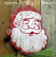 Primitive Hanging Wood Santa Face 12 Lg X 10 Wide Vintage Look Christmas