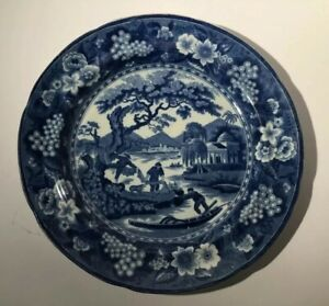 Antique-Pottery-Pearlware-Blue-Transfer-Hamilton-Fisherman-With-Nets-10-c1825