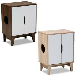 Cat-Litter-Box-Cover-Cat-House-Side-Table-Furniture-Two-Tone-Oak-White-Brown