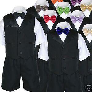 Black Baby Toddler Boys Vest Sets Shorts Suits Extra Satin Color Bow tie Sz S-4T