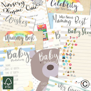 Baby Shower Games Prediction cartes Conseils qui sait maman Charades MUM'S Tum jeu