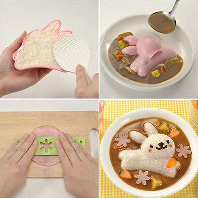 4X Kitchen Egg Sushi Rice Ball Bento Mold tool Rabbit Dolphin Flower DIY