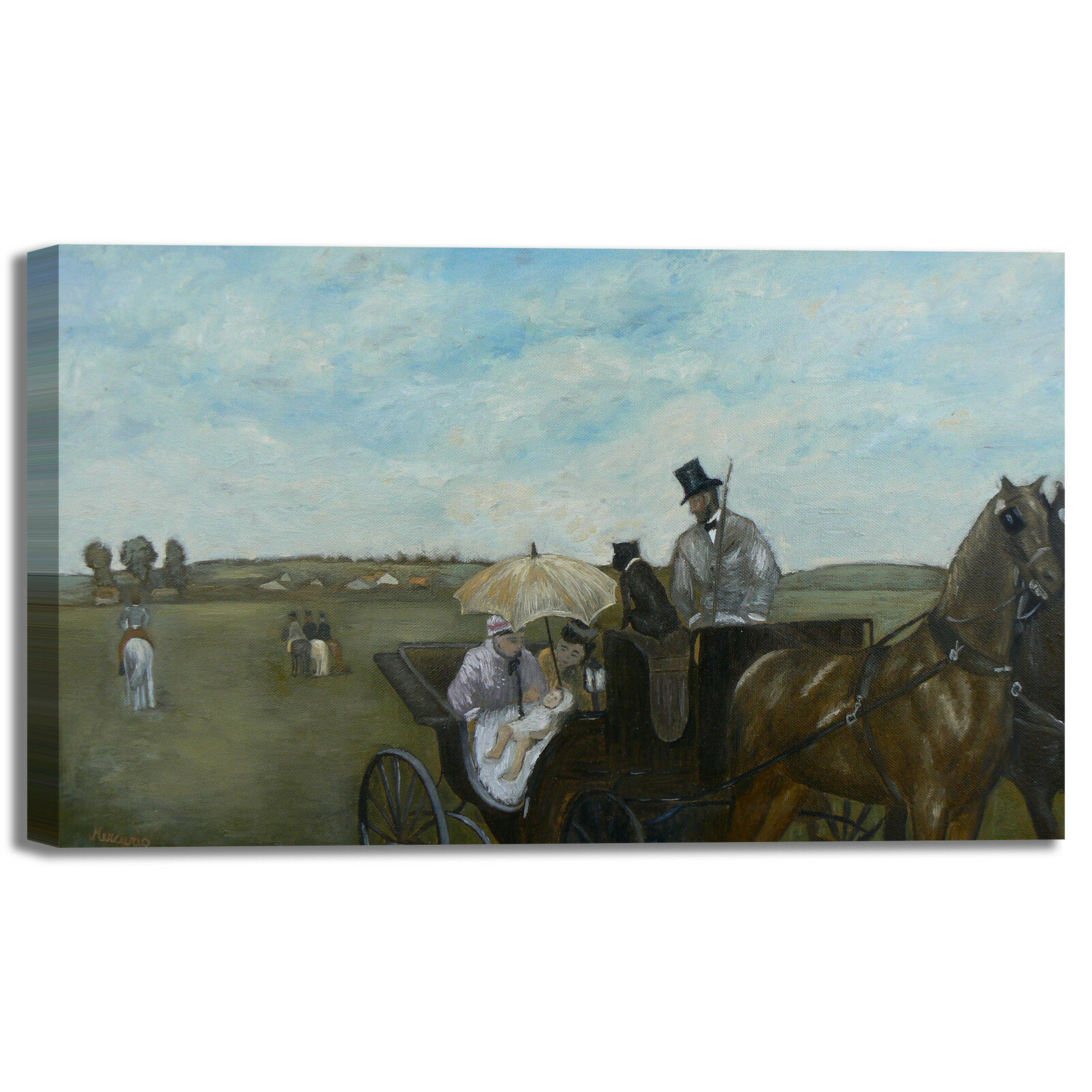 Degas carrozza alle corse design quadro stampa tela dipinto telaio arrossoo casa