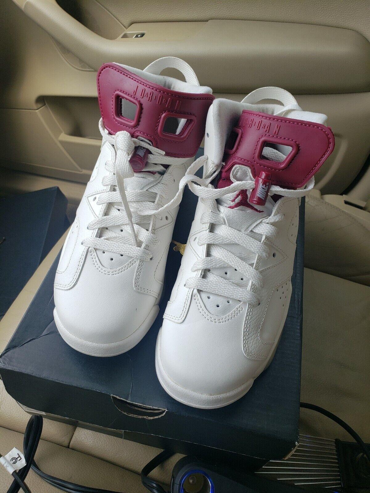 Nike Air Jordan 6 retro white, new maroon youth size 6.5