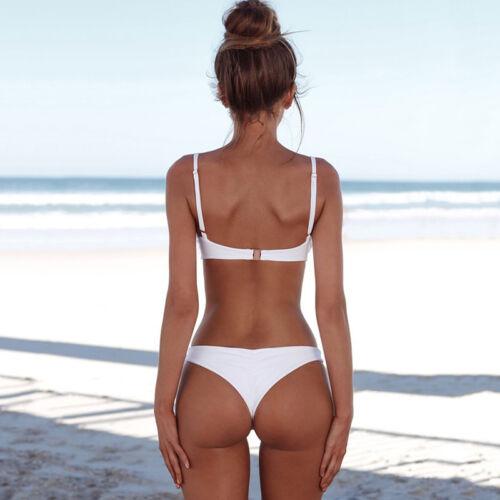 Unifarben Damen Push Up Brazilian Bikini BH Set Badeanzug Bademode Schwimmanzug