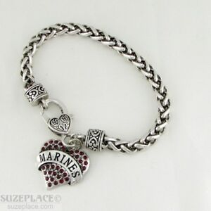 NEW-MARINE-RED-CRYSTAL-HEART-CHARM-SILVER-BRACELET-HEART-CLASP-MILITARY