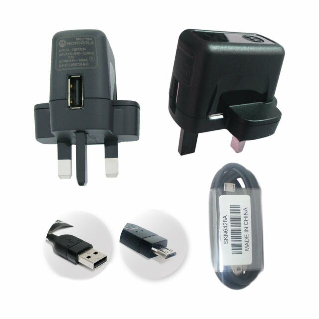 Genuine Motorola Main SPN5728A USB Charger Adapter With Micro USB Cable For R...