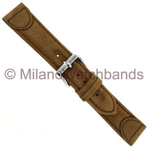 20mm-Speidel-Trail-Master-Brown-Suede-Stitched-Genuine-Leather-Mens-Band-527-720