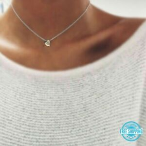 Sterling-Silver-or-Bronze-Gold-Heart-Charm-Bead-Pendant-Choker-Necklace-Gift