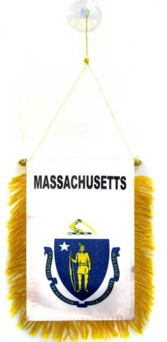 """State of Massachusetts Mini Flag 4/""""x6/"""" Window Banner w// suction cup"""