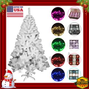 White-Christmas-Tree-6-7-8-Feet-Ft-LED-Lights-Ornaments-Set-Xmas-Decorations-Kit