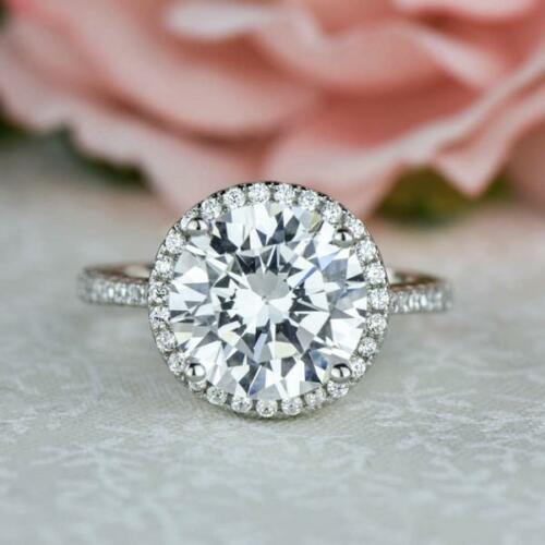 4.25 Ct Round Cut Halo Diamond Solitaire Engagement Ring 14k White Gold Finish