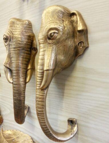 Vintage Door Brass Handles Pair Thai Elephant Head Pull Installation Home Decor