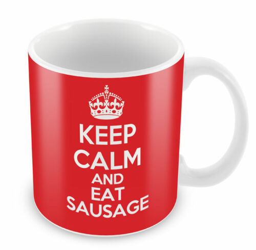 KEEP CALM and Eat Sausage Coffee Cup Gift Idea present funny food xmas