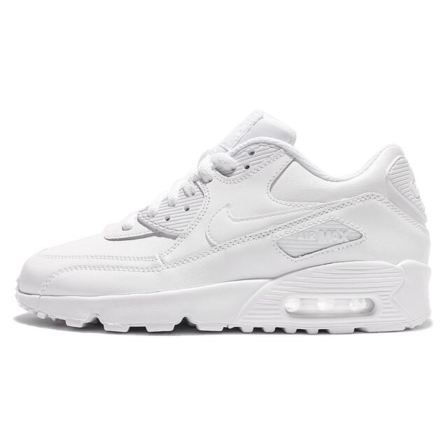new arrivals 87752 ba16a Nike Air Max 90 LTR GS Triple White Leather Kid Girls Running Shoes  833412-100
