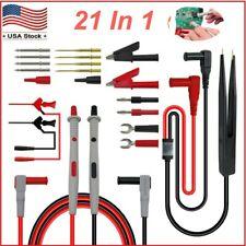 21 In 1 Multimeter Test Lead Kit For Electrical Alligator Clip Test Probe Us