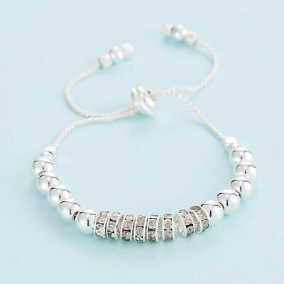 Silver New Fashion Women Leather Bracelet Round Bead Bangle Adjustable Jewelry
