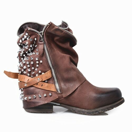 British Vintage Womens Pull On Dress Boots Round Toe Punk Sutdded Ankle Boots