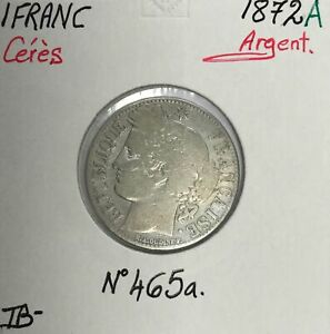 1-FRANC-CERES-1872A-Piece-de-monnaie-en-Argent-TB