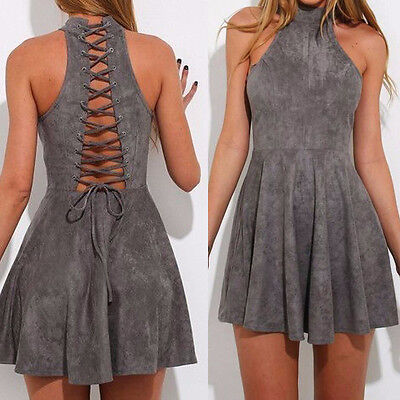 Sexy Women Sleeveless Hollow Out Back Bandage Cocktail Party Tie Up Skirt Dress