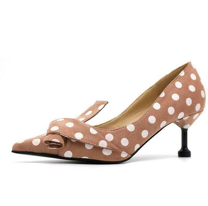 Womens pointed toe polka-dot 6cm high heels Personality non-slip OL Party shoes
