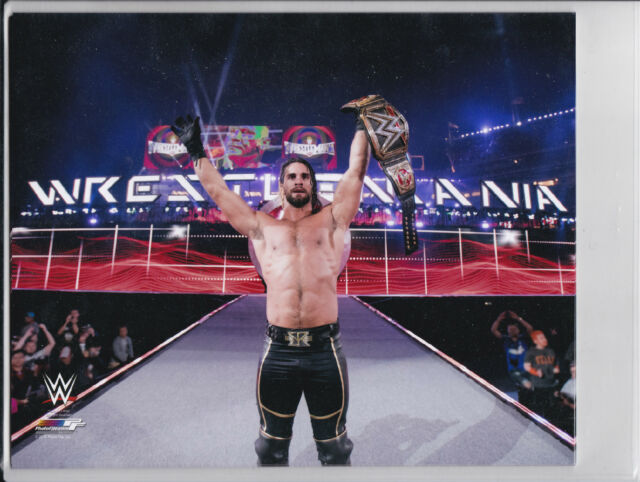 Seth Rollins Wrestlemania 31 8x10 photo WWE Championship Belt  Air End of night