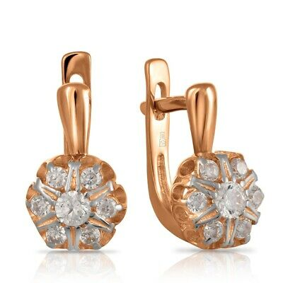 NEW Russian Solid Rose Gold Earrings 14K 3.03g fine jewelry diamonds USSR Russia