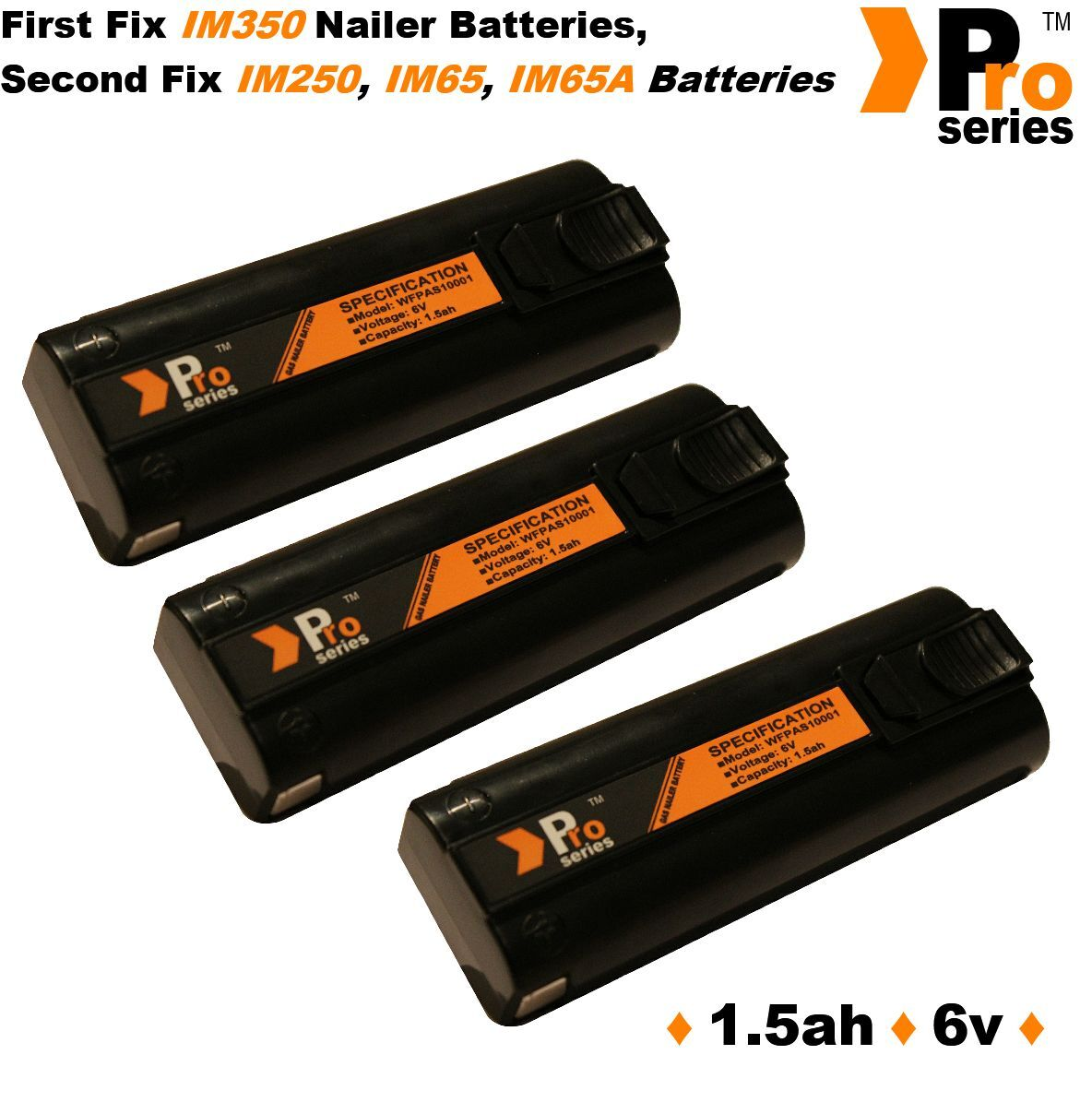 3x replacement batteries 1.5ah pro-series for paslode im350 350+ 65 65A 250
