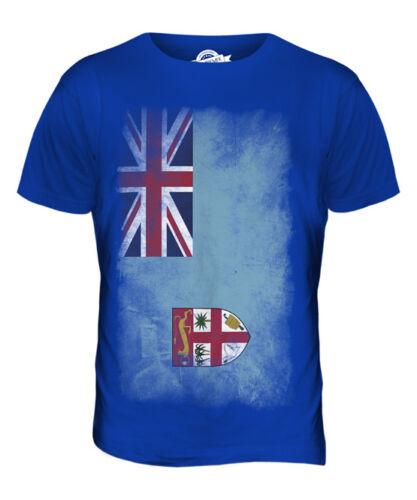 FIJI FADED FLAG MENS T-SHIRT TEE TOP VITI FOOTBALL FIJIAN GIFT SHIRT