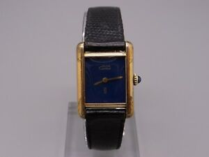 634351b5bfc Must de Cartier Tank Paris 18k Gold Vermeil Plaque Manual Wind Blue ...