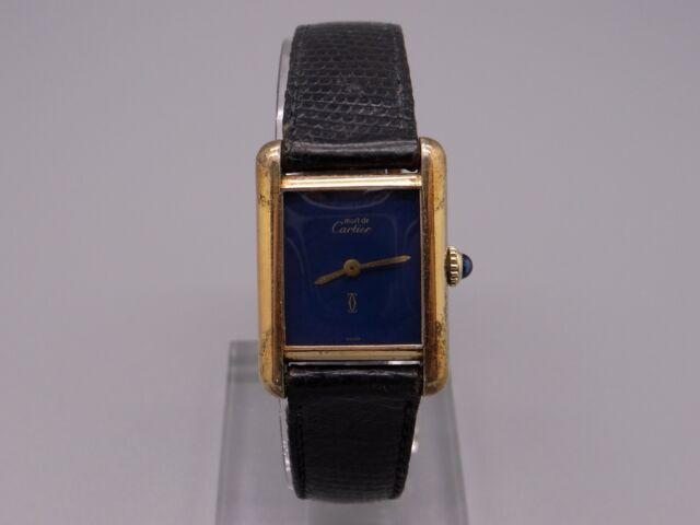 266db43d6d2 Must De Cartier Tank Paris 18k Gold Vermeil Plaque Manual Wind Blue ...
