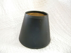 Black-Shell-Small-Leather-Like-Lamp-Shade-W-Gold-Lining-Excellent-Condition