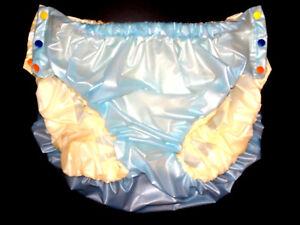 2-Pelle-PVC-Slip-knopfer-gomma-Pantaloni-pannolini-Pantaloni-Rubber-PVC-PELLICOLA-molli-SM-XXXL