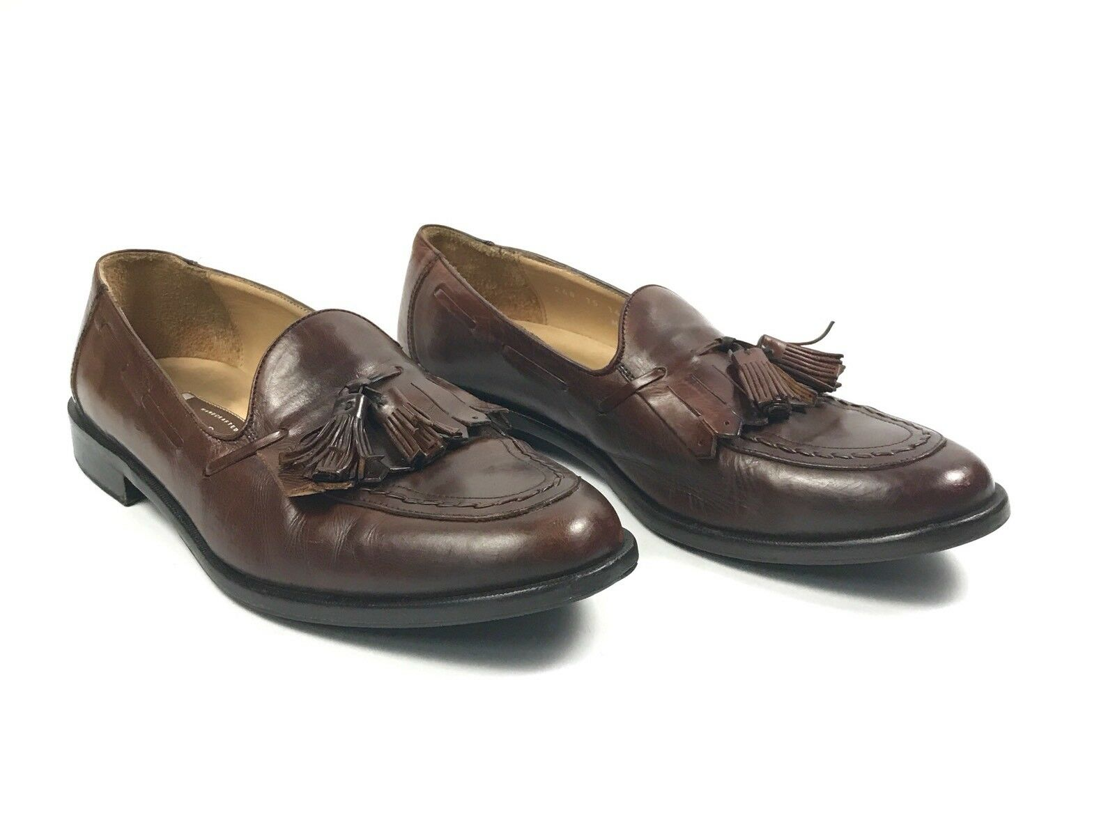 Johnston Murphy Brown Leather Tassel Loafers Handcrafted shoes Size 9.5 M
