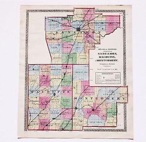 Bunker Hill Illinois Map.1872 Springfield Illinois Map Hillsboro Bunker Hill Sangamon