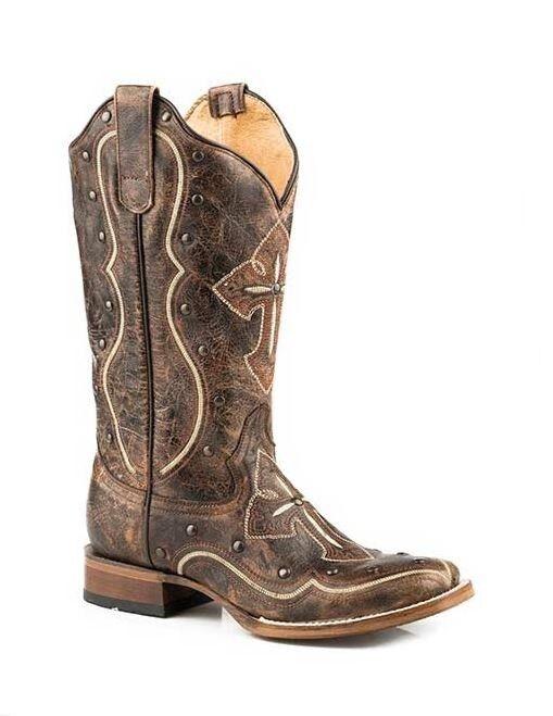 Roper kvinnor Broderbroderad Cross Stud i nöd Stretched Calf Leather Cowboy stövlar