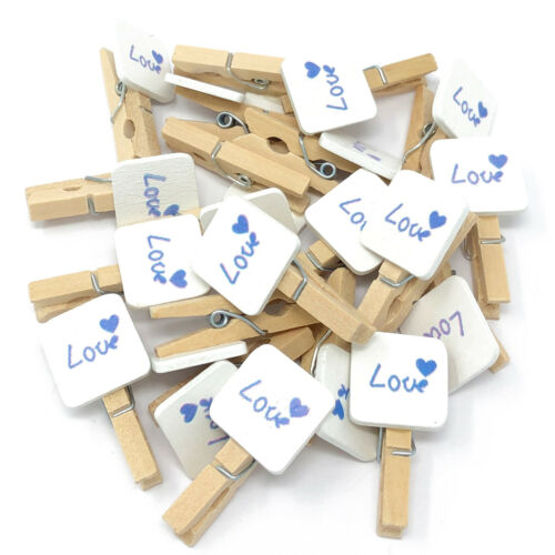 30mm Mini Clothes Pegs with 15mm Blue Love Squares Craft For ShabbyChic Wedding