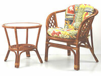 Bahama Rattan Wicker Set Of Chair W/cushion & Round End Leo Table W/glass Top