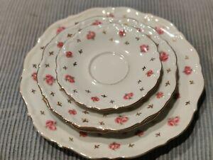 Vintage Winterling Bavaria Heritage Plate set Pink Rosebuds Gold Leaves. (4 pc)