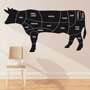 s l300 cuts of meat diagram wall sticker beef cow butchers decal cm3 ebay