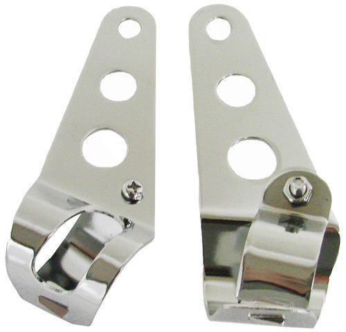 28mm-38mm Chrome Motorcycle Headlight Mount Brackets Fork Ears Bobber Cafe Racer