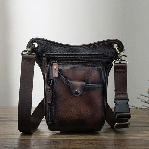 Mens Genuine Leather retro outdoor Motorcyle Hiking Drop Leg Bag Waist Belt Pack