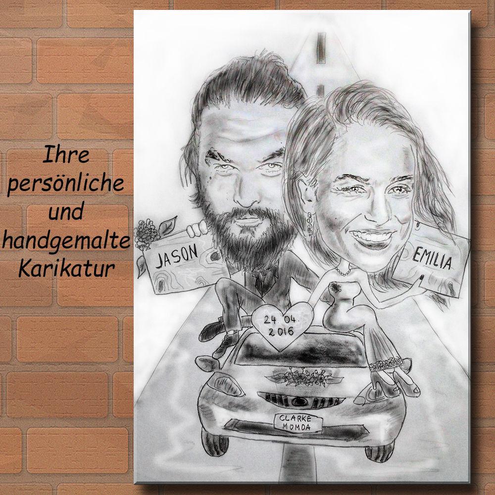 Geschenk Karikatur - Portrait vom Foto   Hochzeit Game of Thrones Auto Liebe