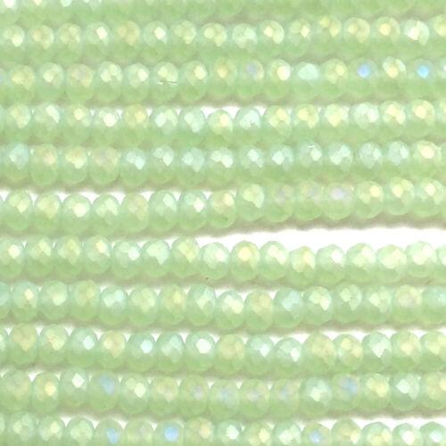Yellow Olive Apple Green 2x2.5mm Chinese Crystal Glass Rondelle Beads Q2 Strands