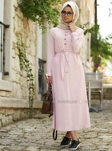 Image Is Loading Mevra Pastel Pink Linen Abaya Muslim Maxi Dress