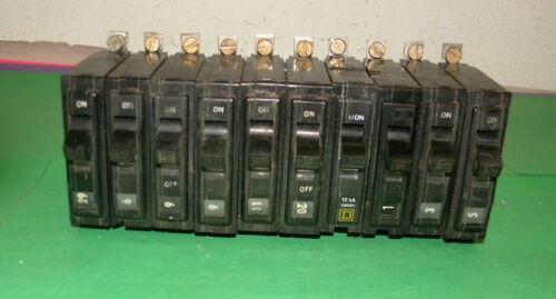 Lot of 10 Square D QOB120 Circuit Breaker 20Amp 1Pole 120//240VAC