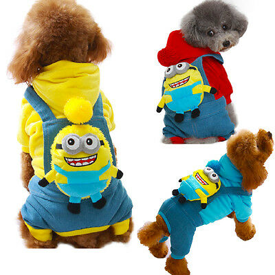 Pet Dog Cat Lovely Cartoon Minions Apparel Halloween Costume Clothes Jumpsuit