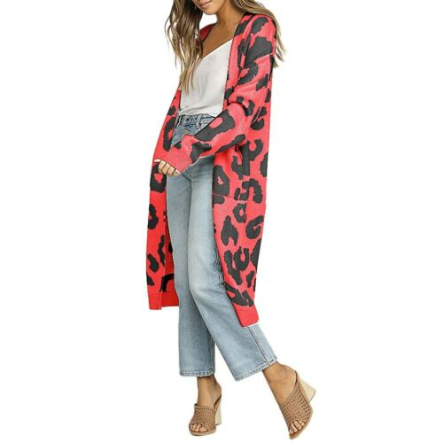 US Women/'s Long Cardigan Sweater Leopard Print Open Front Long Sleeve Loose Coat