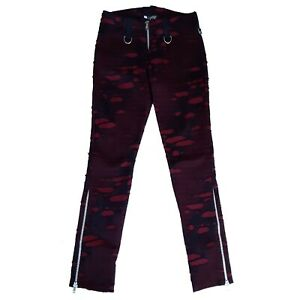 Shrine-Clothing-Red-Black-Red-Mad-Max-Pants-Gothic-Horror-Punk-90s-Jeans-Size-34